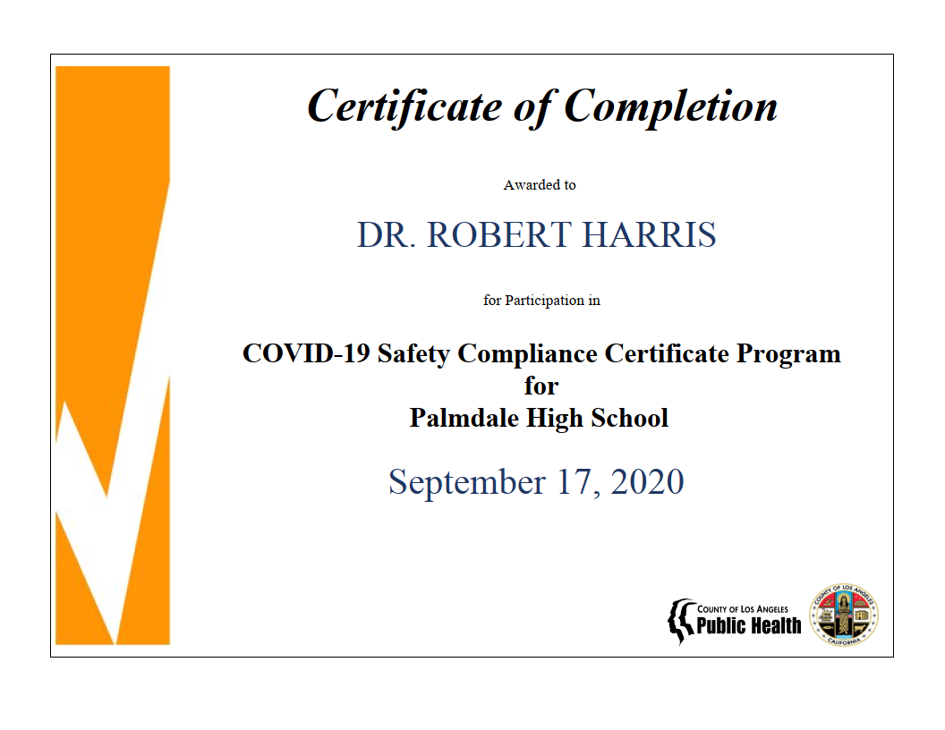 Certificate of Completion Awarded to Dr. Robert Harris